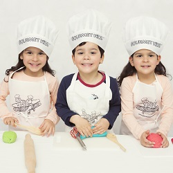 Triplets wearing chef hats 250x250